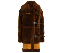 Leather-trimmed Two-tone Shearling Coat Brown