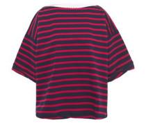Woman Oversized Striped Cotton-jersey T-shirt Navy
