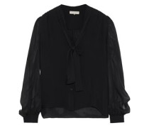 Pussy-bow silk-chiffon blouse