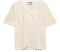 Woman Appliquéd Gathered Slub Cotton-jersey T-shirt Cream