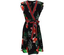Belted Wrap-effect Printed Silk Crepe De Chine Dress Black