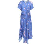 Lois Ruched Floral-print Crepe De Chine Midi Dress Azure
