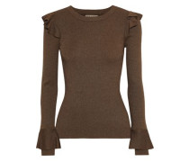 Woman Ruffle-trimmed Ribbed-knit Top Tan