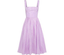 Pleated Gingham Shell Dress Lavender Size 12