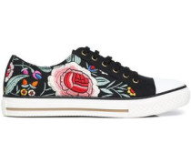 Floral-embroidered canvas sneakers