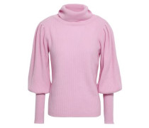Gathered Cashmere Turtleneck Sweater Baby Pink
