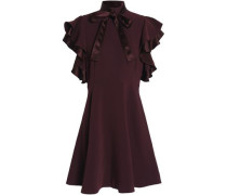Pussy-bow ruffled crepe turtleneck mini dress