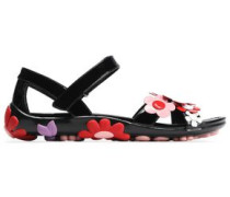 Floral-appliquéd Patent-leather Sandals Black