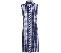 Tie-back cutout gingham cotton shirt dress