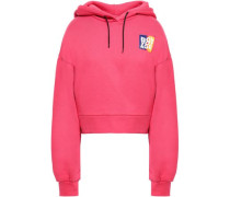 Cropped Embroidered Cotton-fleece Hoodie Pink