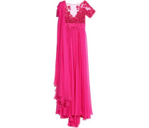 Draped Silk-blend Chiffon And Embellished Tulle Gown Bright Pink