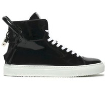 Embellished leather high-top sneakers