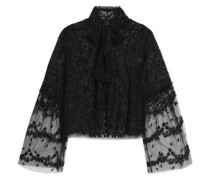 Pussy-bow embroidered tulle bolero