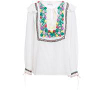 Lova Crochet-paneled Crinkled Cotton-voile Blouse