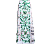 Crystal-embellished embroidered stretch cotton-poplin maxi skirt
