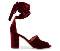 Lace-up velvet sandals