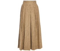 Woman Sequined Pleated Cotton-blend Twill Maxi Skirt Sand