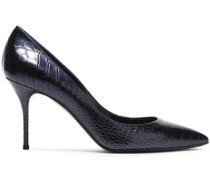 Snake-effect Glossed-leather Pumps Midnight Blue