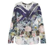 Floral-print devoré silk-blend top