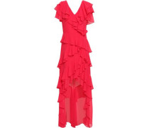 Asymmetric Ruffled Georgette Gown Crimson