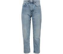 The Vintage Cropped Distressed Printed High-rise Slim-leg Jeans Light Denim  4
