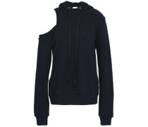 Cold-shoulder French Cotton-terry Hoodie Navy