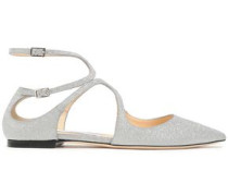 Lancer Cutout Glittered Leather Point-toe Flats Silver