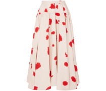 Gathered Printed Silk Maxi Skirt Ecru