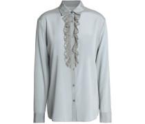 Metallic crochet-trimmed silk-blend crepe de chine shirt