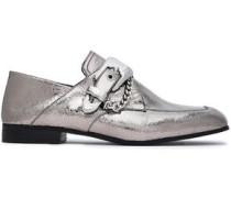Embellished metallic cracked-leather loafers