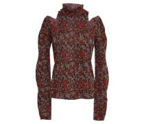 Woman Cutout Metallic Jacquard-knit Turtleneck Sweater Black