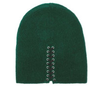 Lace-up Cashmere Beanie Dark Green Size ONESIZE
