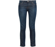 Cropped Low-rise Slim-leg Jeans Dark Denim  4