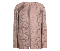 Cotton-blend corded lace and satin-twill jacket