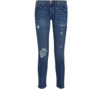 Distressed Mid-rise Slim-leg Jeans Mid Denim  5