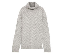 Woman Lee Cable-knit Wool-blend Turtleneck Sweater Light Gray