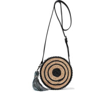 Tasseled Striped Woven Straw Shoulder Bag Black Size --