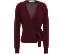 Brushed-cashmere Wrap Sweater Grape