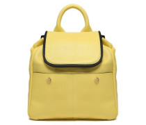 Pebbled-leather Backpack Bright Yellow Size --