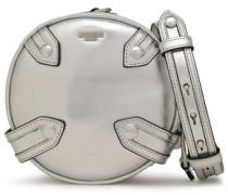Studded Metallic Leather Shoulder Bag Silver Size --
