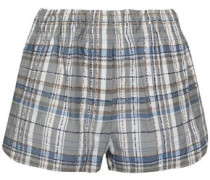 Embellished Checked Cotton-blend Shorts Gray