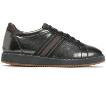 Suede-trimmed Bead-embellished Striped Metallic Textured-leather Sneakers Gunmetal