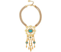 24-karat Gold-plated Stone Necklace Gold Size --