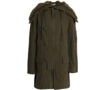 Faux fur-trimmed cotton-twill jacket