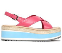 Coated-leather Platform Sandals Pink