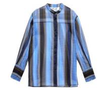 Striped Silk-organza Shirt Blue