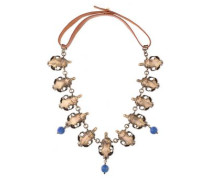 Woman Burnished Gold-tone, Bead And Leather Necklace Bronze