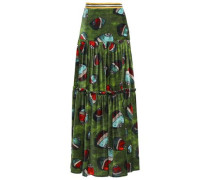 Metallic-trimmed Velvet Maxi Skirt Leaf Green