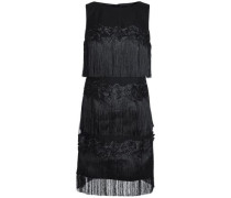 Fringed Embroidered Tulle Dress Black Size 0