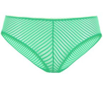 Woman Striped Stretch-mesh Mid-rise Briefs Bright Green